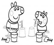 jouer au chateau de sable peppa pig dessin à colorier