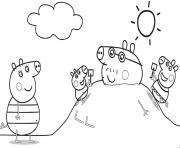 La famille Peppa Pig en vacance dessin à colorier