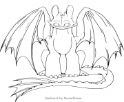 Coloriage toothless lineheart by SweetLhuna
