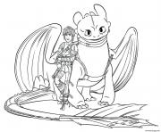 Coloriage hiccup and toothless dragon