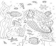 Coloriage la sirene sur une roche avec les animaux de la mer dessin