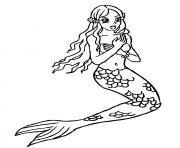 mermaid la belle sirene de la mer dessin à colorier