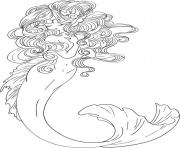 sirene de mer elegante dessin à colorier