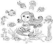 sirene et poissons par amalga dessin à colorier