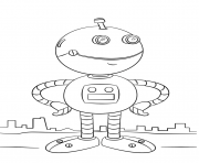 Coloriage cute cartoon robot par Lena London