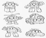 robocar police pompier robots dessin à colorier