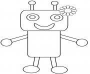 robot avec une fleur dessin à colorier
