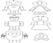 cute robots famille dessin à colorier