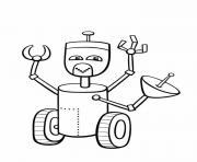 robot avec un satelite dessin à colorier