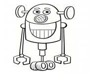 robot rigolo avec un grand sourire dessin à colorier