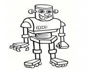 robot gentil avec un grand sourire dessin à colorier