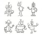 famille de robots dessin à colorier