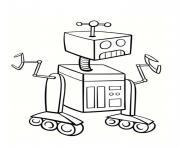 un robot sous roues dans la galaxie dessin à colorier