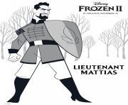 Nouveau personnage de La reine des neiges 2 de Disney Le Lieutenant Mattias dessin à colorier