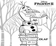 Olaf aime la lecture dans La reine des neiges 2 de Disney dessin à colorier