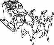 pere noel avec traineau et ses rennes au nez rouge dessin à colorier