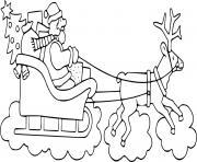 pere noel traineau renne dessin à colorier