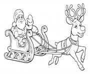 pere noel et son traineau de noel volent traineau et rennes dessin à colorier