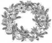 couronne de noel zentangle dessin à colorier