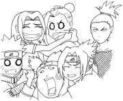 naruto squad 7 and 10 dessin à colorier