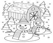 monsieur et madame bonhomme de neige dessin à colorier