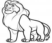 Coloriage visage mufasa roi lion dessin