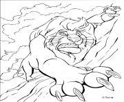 mufasa de disney entrain de tomber dessin à colorier