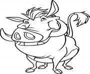 pumba un phacochere monsieur porc dessin à colorier