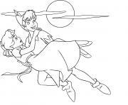 peter pan sauve une jeune fille dessin à colorier