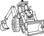 camion tractopelle combinant un chargeur sur pneus et une pelleteuse dessin à colorier