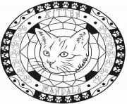 Coloriage adulte mandala elegant chat kitten
