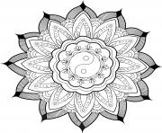 mandala yin yang et feuilles par arwen dessin à colorier