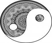 mandala zen yin et yang philosophie chinoise dessin à colorier