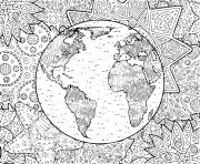 la planete terre et son environnement dessin à colorier