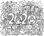 bonne annee 2020 nouvel an lunaire de nombreuses souris dessin à colorier