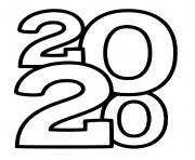 nouvel an 2020 chiffres seulement dessin à colorier