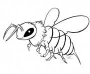 abeille maternelle en noir realiste dessin à colorier