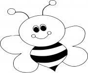 abeille souriante dessin à colorier