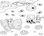 ruche papillon abeille miel dessin à colorier
