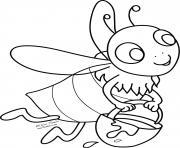 abeille et sa production de miel dessin à colorier