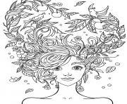 fille 10 a 12 ans cheveux en fleurs dessin à colorier