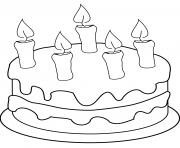 gateau au fromage avec chandelles dessin à colorier