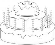 gateau de fete avec cerise et chandelles dessin à colorier