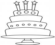 simple gateau anniversaire 3 chandelles 4 etages dessin à colorier