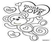 singe avec beaucoup damour et de coeurs dessin à colorier