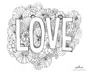 mot amour avec fond de fleurs dessin à colorier
