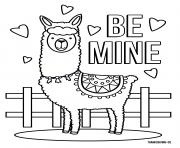 Coloriage Llama Be Mine Love