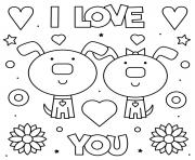 Coloriage I Love you Je Taime deux chiens adorable