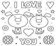 I Love you Je Taime deux chiens adorable dessin à colorier