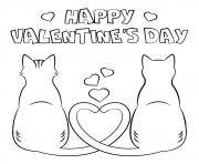 joyeuse saint valentin par deux chats amoureux dessin à colorier
